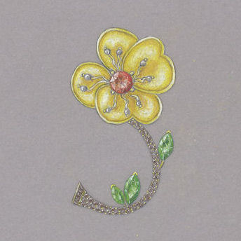 Jewel Flower Brooch rendering by Joana Miranda