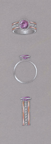 Pink diamond, rose gold and platinum ring study by Joana Miranda