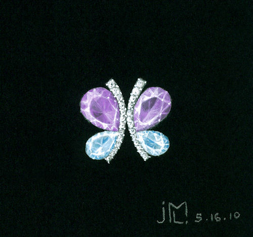 Watercolor and gouache butterflly brooch rendering with pear-shaped amethyst and aquamarine gemstones by Joana Miranda