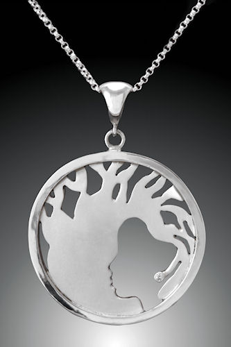 Photo of Argentium Sterling Silver and Diamond Baobab Tree Pendant by Joana Miranda