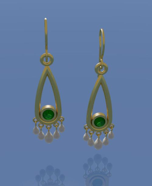 Computer Aided Design of Emerald Chandelier Earring with Pearl Drops by Joana Miranda