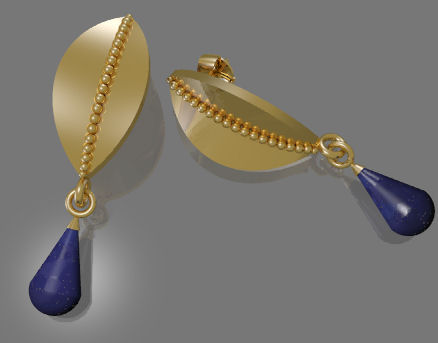Gold and Lapis Lazuli CAD Earring Rendering by Joana Miranda