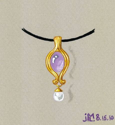 Watercolor and gouache amethyst, gold and pearl drop pendant rendering by Joana Miranda