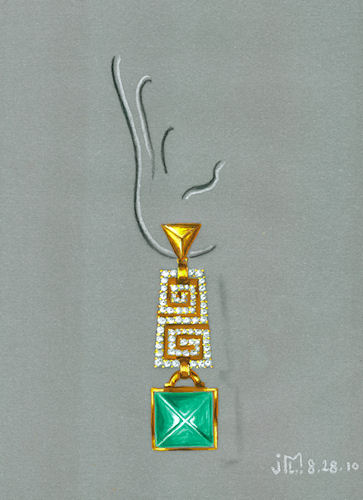 Watercolor and gouache Bulgari-inspired earring rendering by Joana Miranda