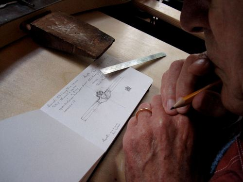Photo of my father at work on a ring project