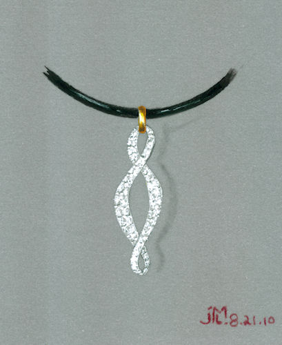 Watercolor and gouache diamond twist pendant rendering by Joana Miranda