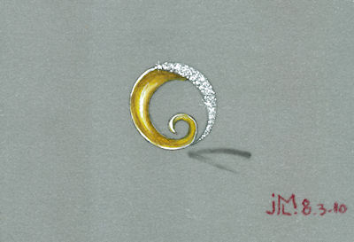 Colored pencil and gouache gold and diamond swirl brooch rendering by Joana Miranda
