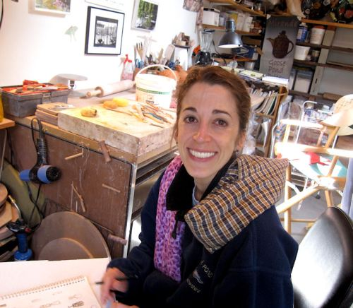 Photo of Joana in her parents' atelier in NH