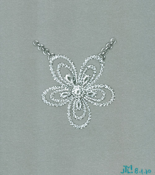 Colored pencil and gouache diamond flower pendant rendering by Joana Miranda