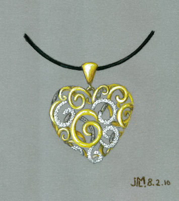 "Colored pencil and gouache ""lace"" heart rendering with gold and diamonds by Joana Miranda"