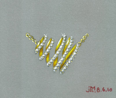 Colored pencil and gouache looped heart pendant rendering by Joana Miranda