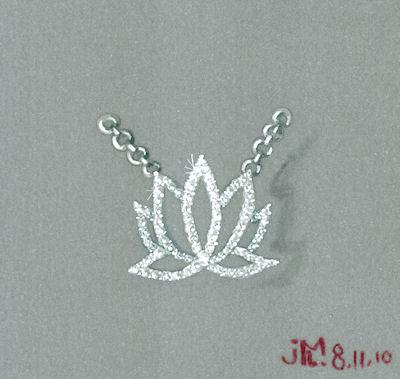 Gouache on Vellum Rendering of Diamond Lotus Pendant by Joana Miranda