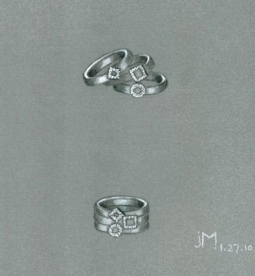 Pencil and gouache rendering of stackable rings