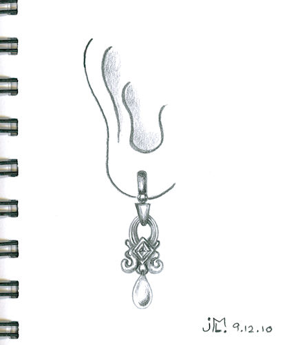 "Pencil Rendering of ""9:53"" Earring by Joana Miranda"