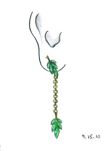 "Colored pencil drawing of ""cilantro-inspired"" earring by Joana Miranda"