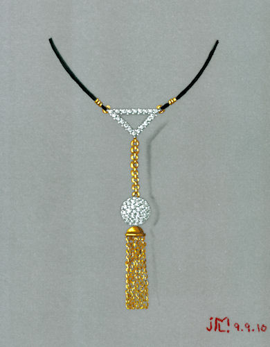 Watercolor and gouache gold and diamond ball, chain and tassel pendant rendering on black silk cord by Joana Miranda