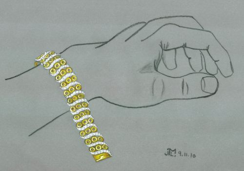 Colored pencil and gouache gold circle and diamond bar bracelet rendering by Joana Miranda