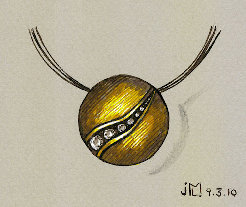 Pen and ink gold domed pendant with channel-set diamonds by Joana Miranda