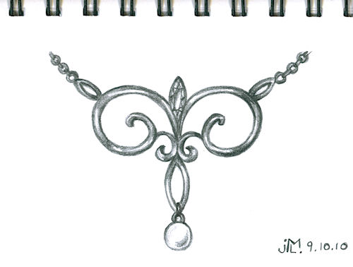 Pencil sketch of scroll-work pendant by Joana Miranda inspired by NY lamp post