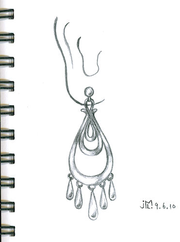 Pencil sketch of tiered looped chandelier earring by Joana Miranda
