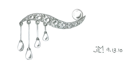 Pencil sketch of modern diamond and pearl brooch by Joana Miranda