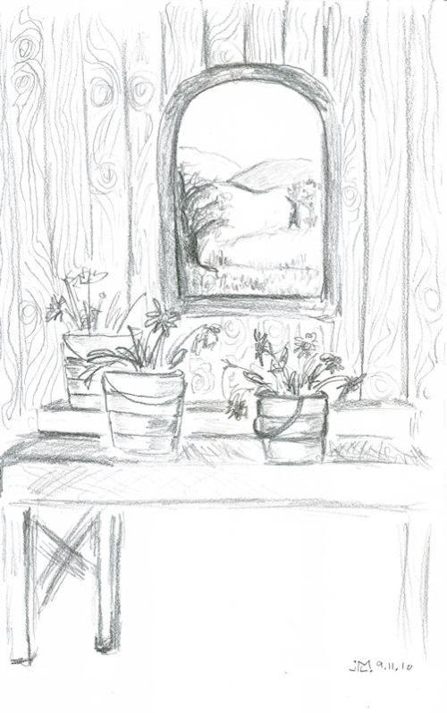 Pencil sketch of flower buckets by window by Joana Miranda