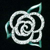 "Watercolor and gouache rose ""brooch"" design by Joana Miranda"
