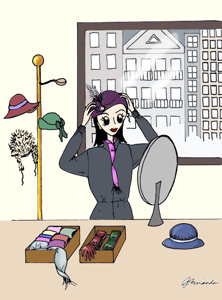 "Pen and digitally rendered ""Josephine Buys a Hat"" illustration by Joana Miranda"