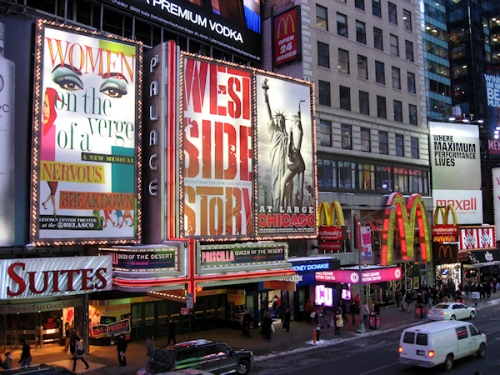 Times Square theatre district, photo taken by Joana Miranda