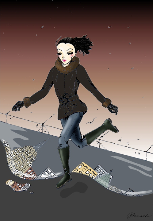 "Pen and digitally colored ""Josephine Does a Little Street Ballet"" illustration by Joana Miranda"