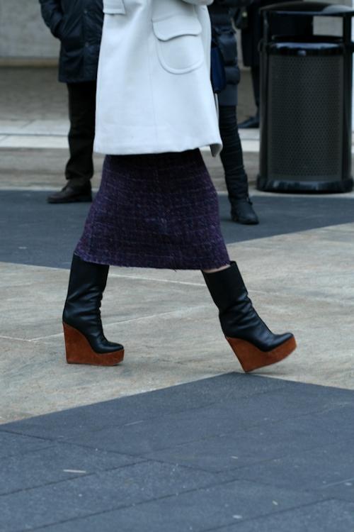 Photo of black wedge platform boots seen at NYC Winter Fashion Week - taken by Joana Miranda