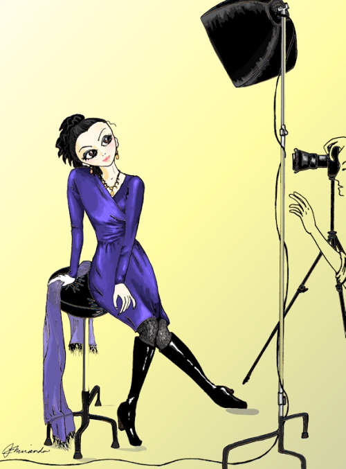 "Pen and digitally painted ""Josephine Gets Her Photo Taken"" illustration by Joana Miranda"