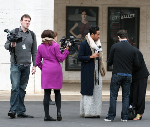 Photo of fashion designer being interviewed at Lincoln Center during 2011 winter Fashion Week - taken by Joana Miranda