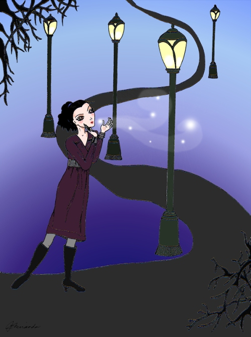 "Pen and digitally colored ""Josephine Indulges in a Little Night Magic"" illustration by Joana Miranda"