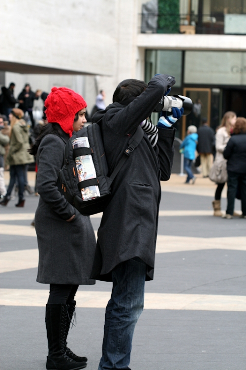 Photo of photographer on Lincoln Plaza during 2011 winter Fashion Week - taken by Joana Miranda