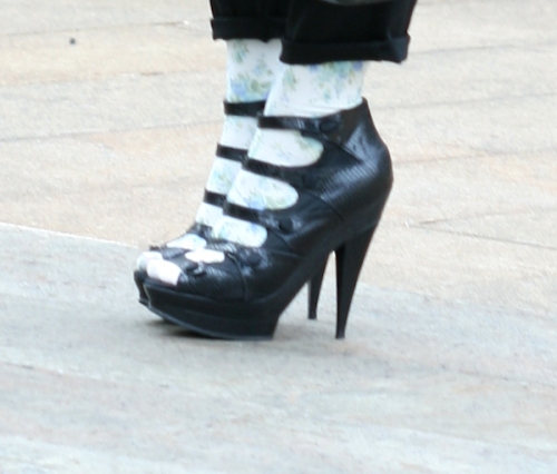 "Photo of black high-heeled strappy ""witch"" shoes - taken by Joana Miranda"