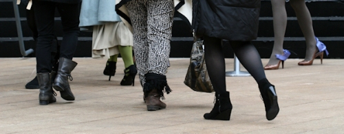 Photo of feet of people going in to the Mercedes Benz tent at Fashion Week in NY City - taken by Joana Miranda