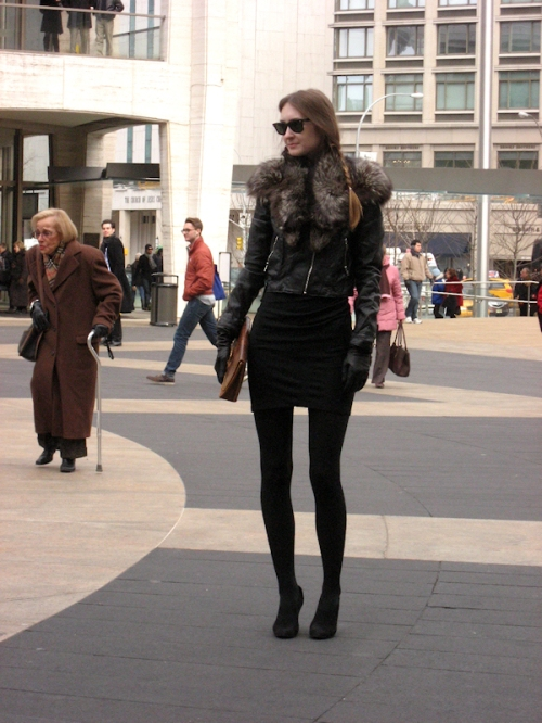 Photo of very tall thin girl at Lincoln Center Plaza - taken during 2011 Fashion Week by Joana Miranda