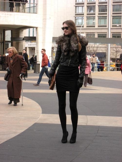 Photo of very tall thin girl at Lincoln Center Plaza - taken during 2011 Fashion Week by Joana Miranda