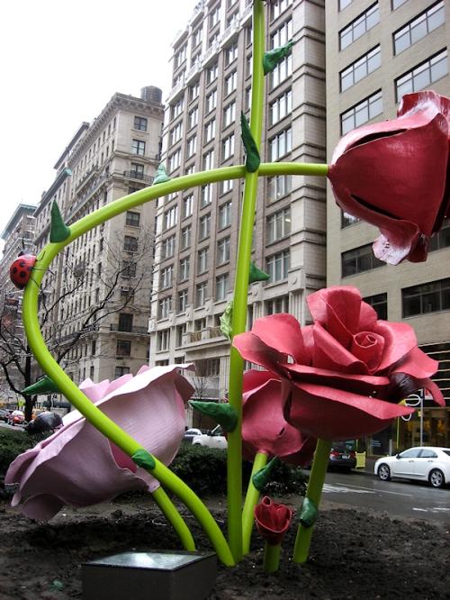 Photo of base of flower sculpture along Madison Ave., taken by Joana Miranda