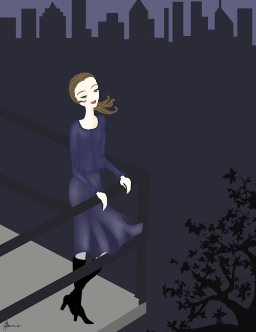 """Josephine Admires the View from the Balcony"" illustration by Joana Miranda"