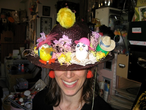Photo of Easter hat adorned with decorated Easter eggs