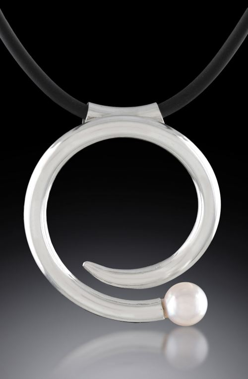 Argentium Akoya Pearl and Rubber Pendant hand-fabricated by Joana Miranda