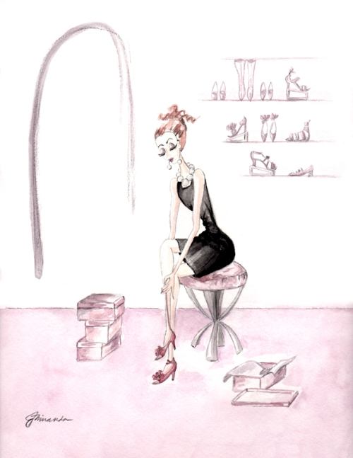 """Josephine Tries on Shoes"" 8.5 x 11 Art Print by Joana Miranda"