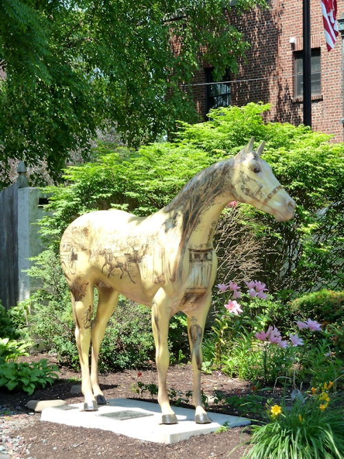 Photo of painted white horse in Saratoga Springs, NY, taken by Joana Miranda
