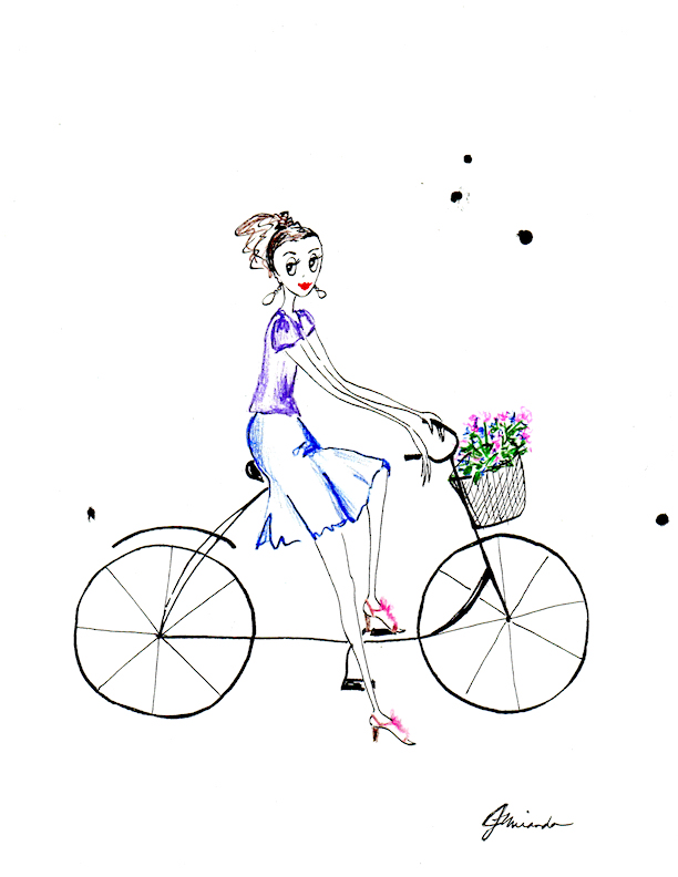 Simple Flower Basket Drawing : Bike with flower basket joana miranda studio