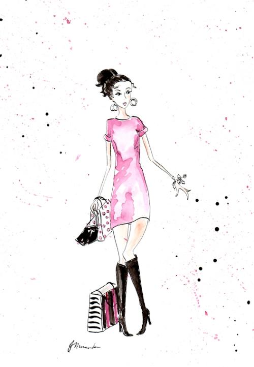 "Ink and watercolor ""Fall Fashionista"" illustration by Joana Miranda"