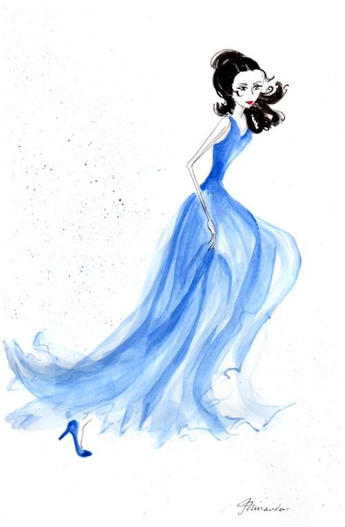 "Ink and watercolor ""Josephine Dashed Away"" original illustration by Joana Miranda"