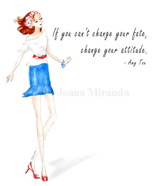 "Whimsical fashion-based watercolor ""Red, White and Blue"" illustration by Joana Miranda"