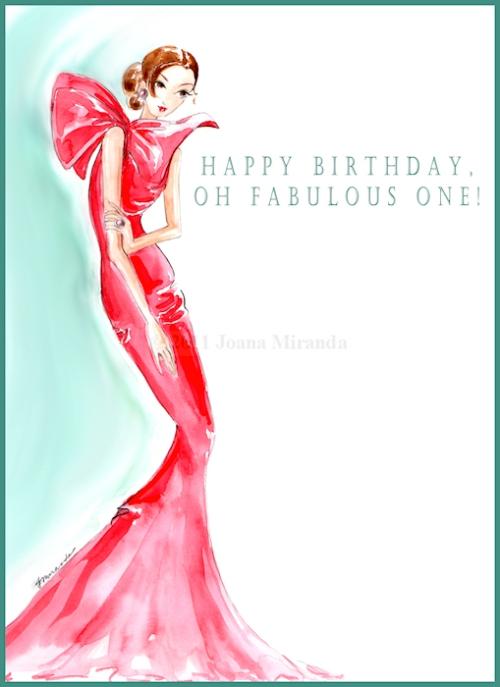 Happy Birthday, Oh Fabulous One! - Whimsical fashion-inspired greeting card by Joana Miranda